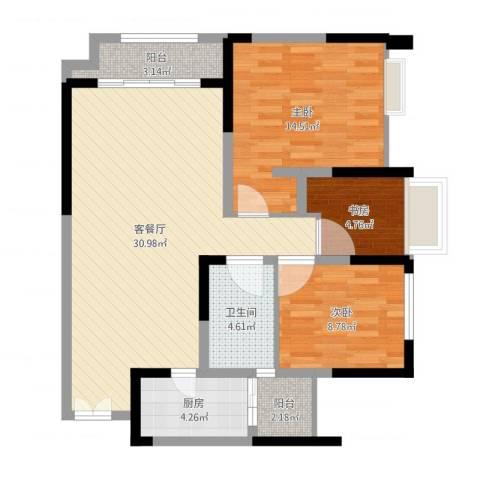 望龙东郡3室2厅1卫1厨92.00㎡户型图