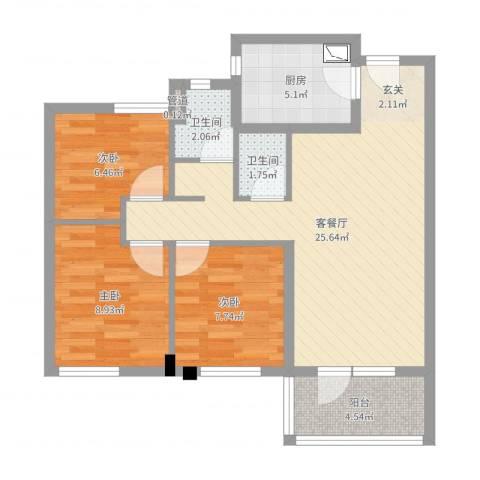 万科城花�苑3室2厅3卫1厨78.00㎡户型图