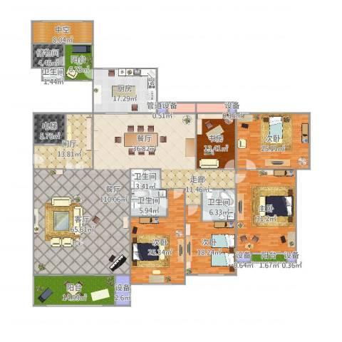 上虞-尚御府-329户型5室1厅4卫1厨401.00㎡户型图