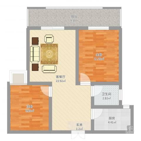 瑞祥花园2室2厅1卫1厨77.00㎡户型图