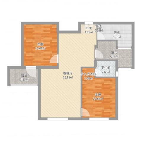 华茂品江2室2厅2卫1厨89.00㎡户型图
