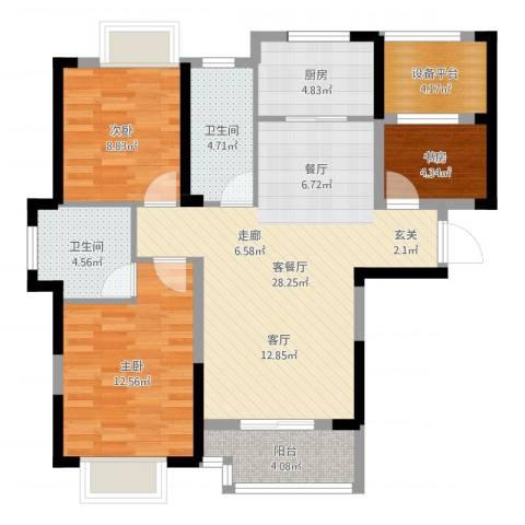 平安光谷春天3室2厅2卫1厨95.00㎡户型图