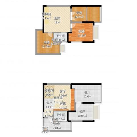 东海滨江城2室2厅2卫1厨142.00㎡户型图