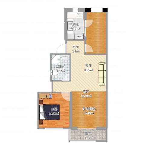 兴政西里1室1厅1卫1厨74.00㎡户型图