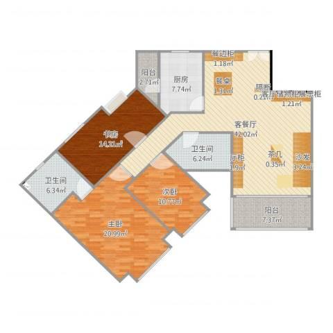 东骏豪苑3室2厅2卫1厨148.00㎡户型图