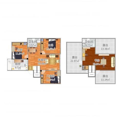 古城新境4室2厅2卫1厨201.00㎡户型图
