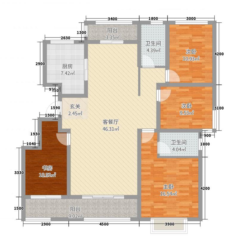 华新山水居316.20㎡C3五层户型4室2厅2卫
