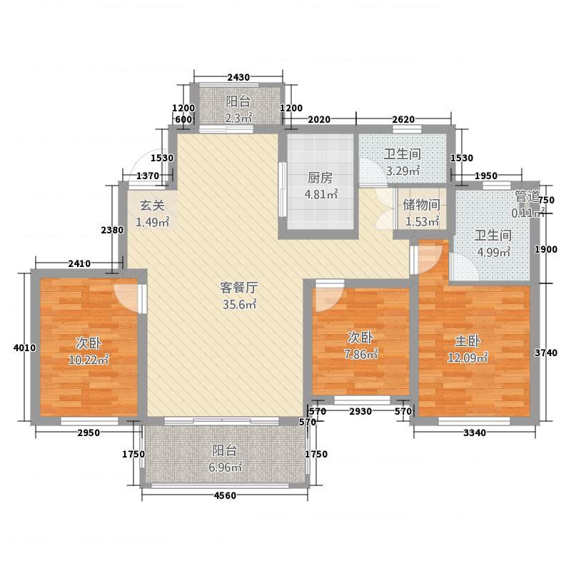 玉茗・利兹堡23141.31㎡B户型3室2厅2卫1厨
