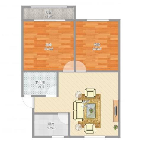 莘南一村2室1厅1卫1厨56.00㎡户型图