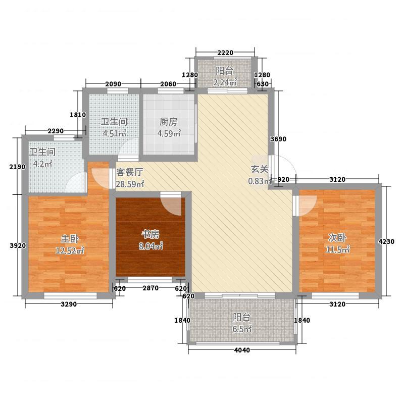 玉茗・利兹堡13117.57㎡B户型3室2厅2卫1厨