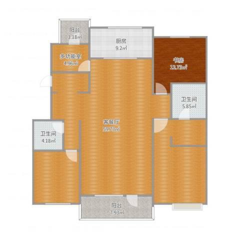 万科蓝山1641室2厅2卫1厨177.00㎡户型图