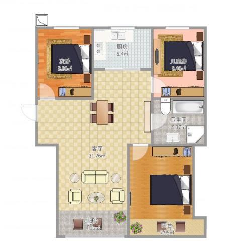 恒安新东城学院派2室1厅1卫1厨92.00㎡户型图