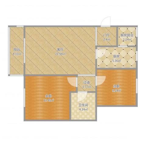 理想城礼域府2室1厅1卫1厨81.00㎡户型图