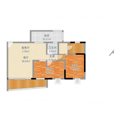 江南世家2室1厅2卫1厨125.00㎡户型图