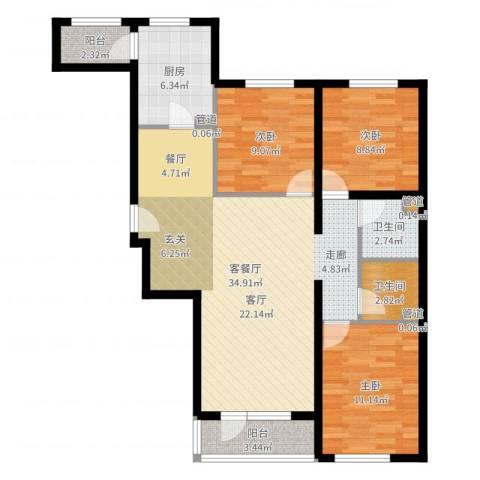 神宇国际3室2厅2卫1厨102.00㎡户型图