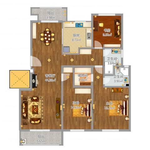 保集澜湾3室2厅2卫1厨145.00㎡户型图