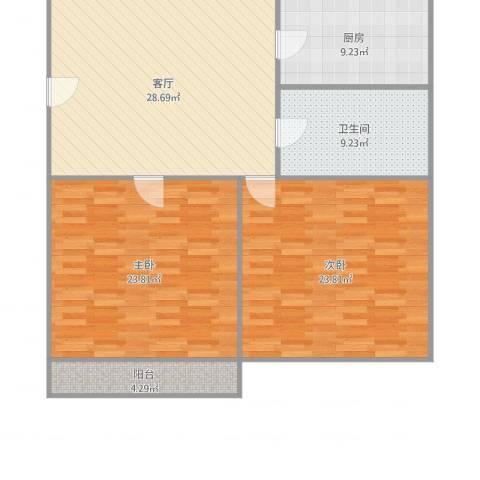 吴淞新村2室1厅1卫1厨124.00㎡户型图