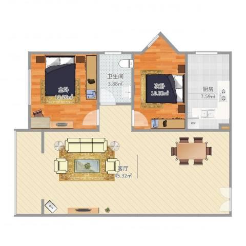 雪芳园2室1厅1卫1厨99.00㎡户型图