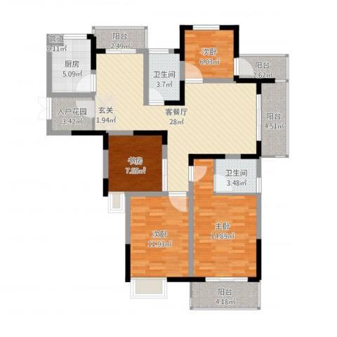 冠城华府4室2厅2卫1厨123.00㎡户型图