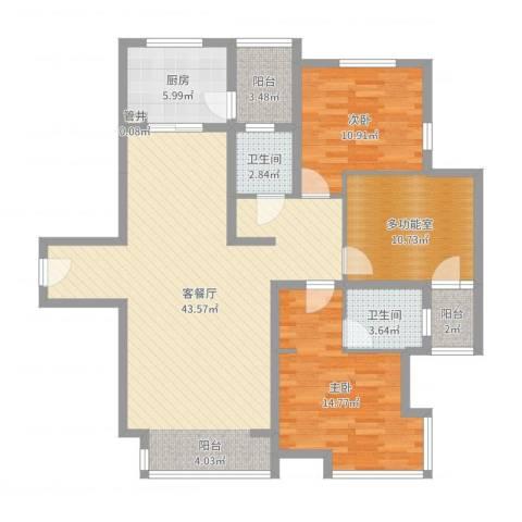 奥林匹克花园2室2厅2卫1厨140.00㎡户型图