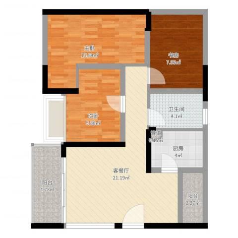 嘉鑫阳光雅居3室2厅1卫1厨80.00㎡户型图