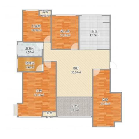 通州区南湖学府4室1厅1卫1厨157.00㎡户型图