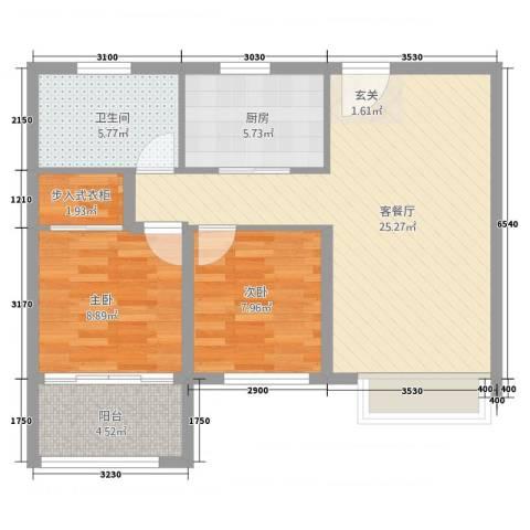 鲁商中心2室2厅1卫1厨2286.00㎡户型图