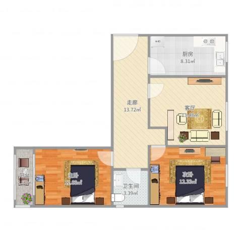 丽泽景园2室1厅1卫1厨82.00㎡户型图