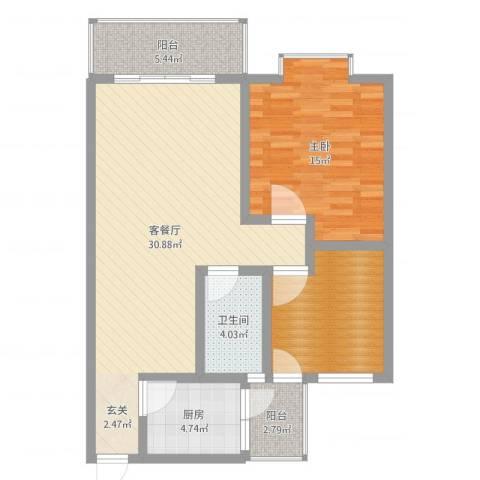 江岸山景1室2厅1卫1厨90.00㎡户型图