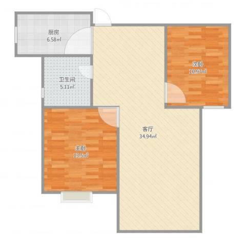 牡丹花园2室1厅1卫1厨91.00㎡户型图