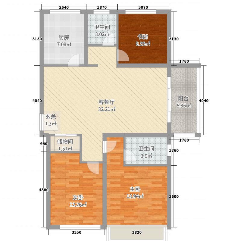 鲁商中心23125.20㎡高层D户型3室2厅2卫1厨