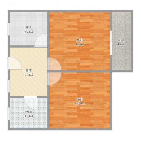 通河一村2室1厅1卫1厨58.00㎡户型图