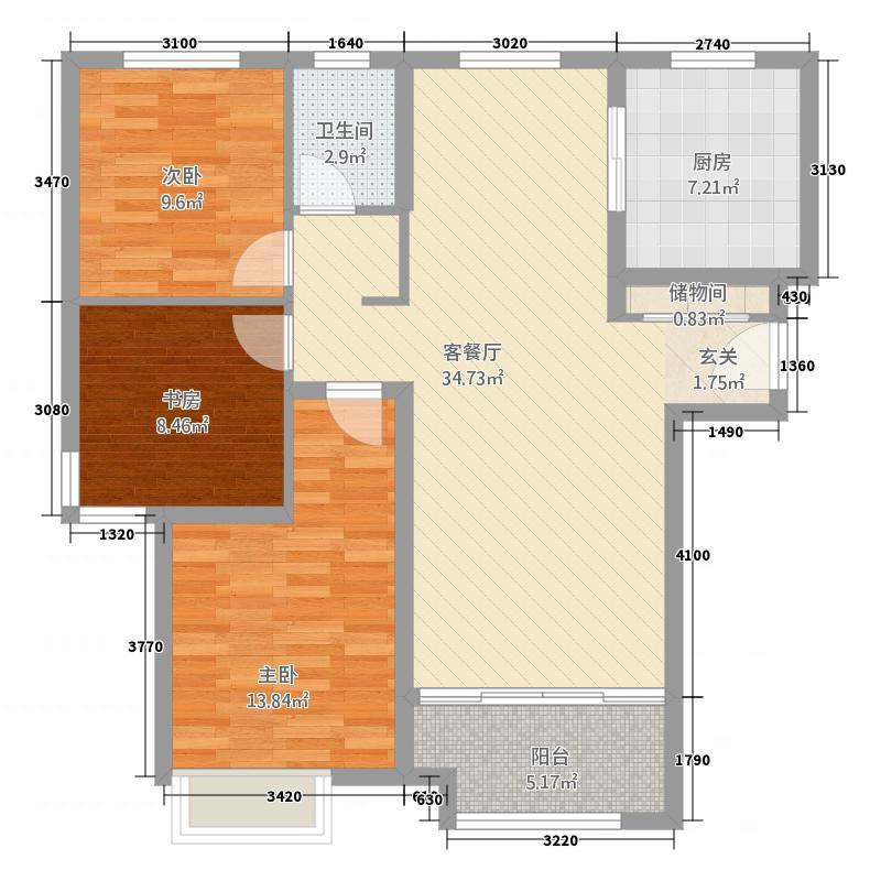 鲁商中心13118.20㎡高层C户型3室2厅1卫1厨