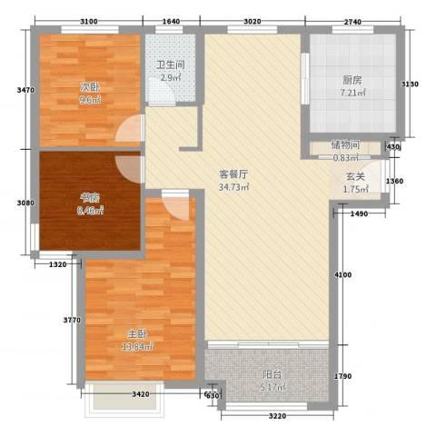 鲁商中心3室2厅1卫1厨13118.00㎡户型图