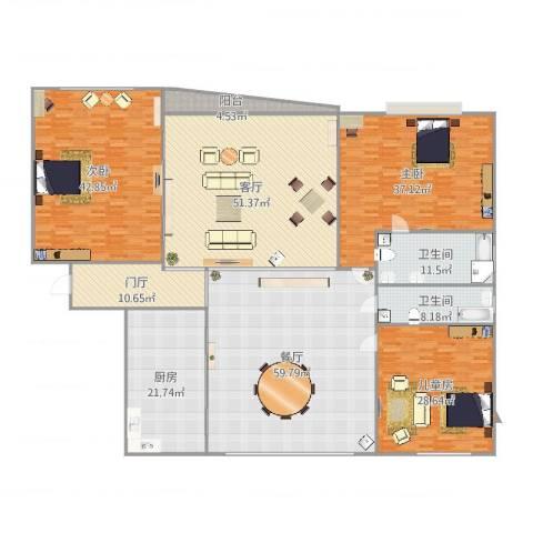 金桥爱建园3室2厅2卫1厨345.00㎡户型图