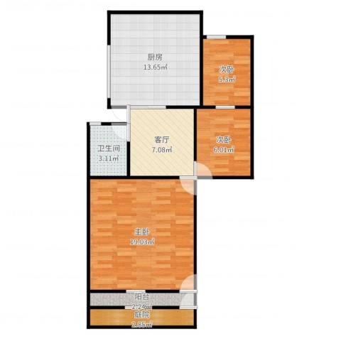 朝晖八区3室1厅1卫1厨74.00㎡户型图