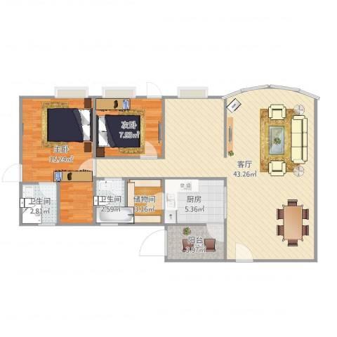 星汇园复式一楼2室1厅2卫1厨114.00㎡户型图