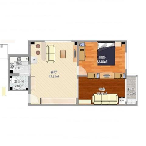 新鸿花园2室1厅1卫1厨63.00㎡户型图