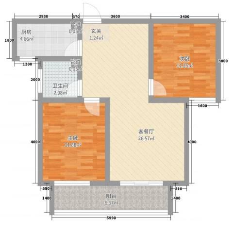 内丘锦江华庭2室2厅1卫1厨93.00㎡户型图