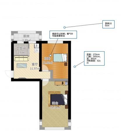 模式口西里1室1厅1卫1厨61.00㎡户型图