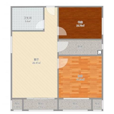 北京人家2室1厅1卫1厨87.00㎡户型图