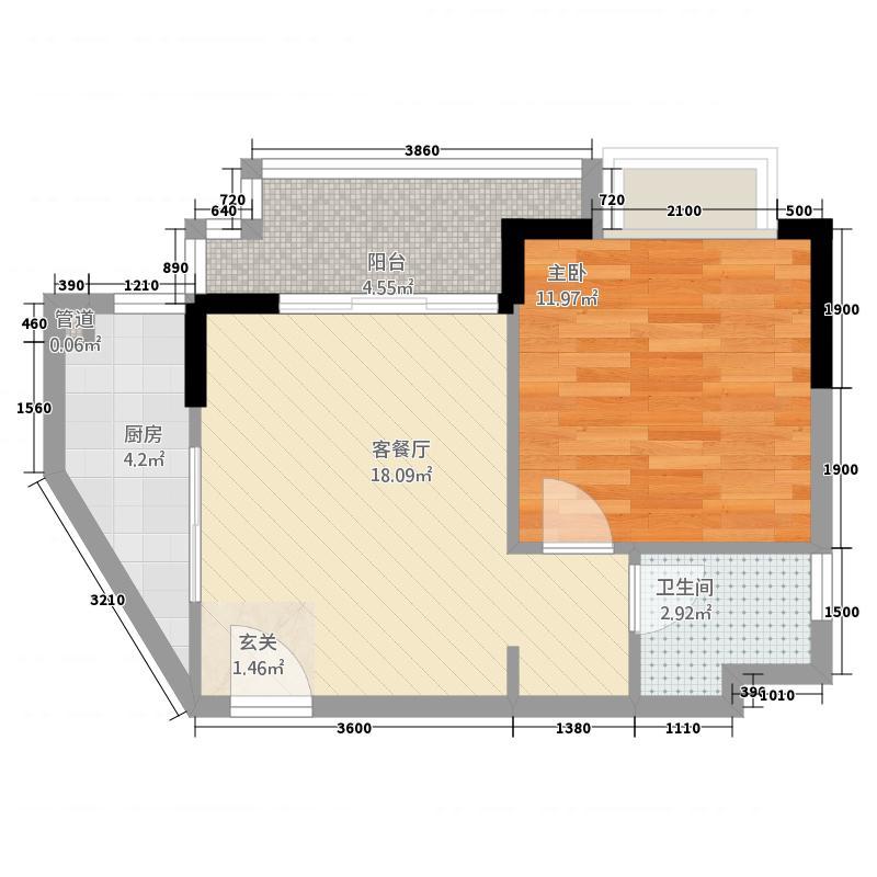 天赐・上湾57.78㎡公寓A户型1室2厅1卫1厨