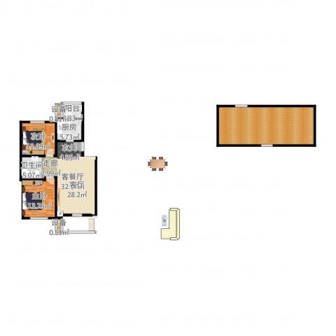 燕宇艺术城2室2厅3卫1厨141.00㎡户型图