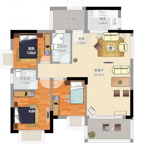 时代名苑3室2厅2卫1厨92.00㎡户型图