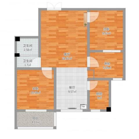 盛城东星3室1厅2卫1厨84.00㎡户型图