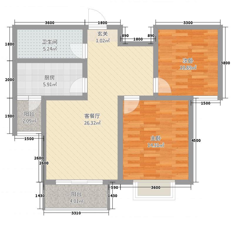 金色豪庭26.20㎡B2#6#99m户型2室2厅1卫1厨