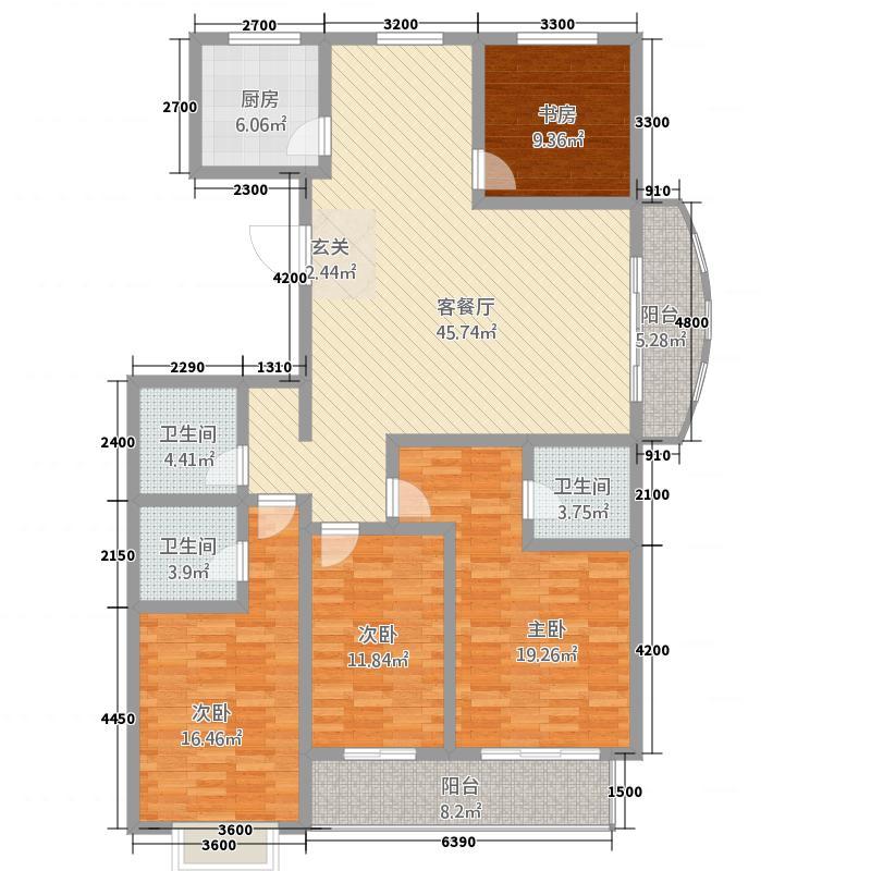 金色豪庭13518.20㎡B1-3-户型4室2厅3卫1厨