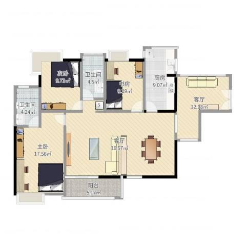 金域中央天玺3室2厅2卫1厨135.00㎡户型图