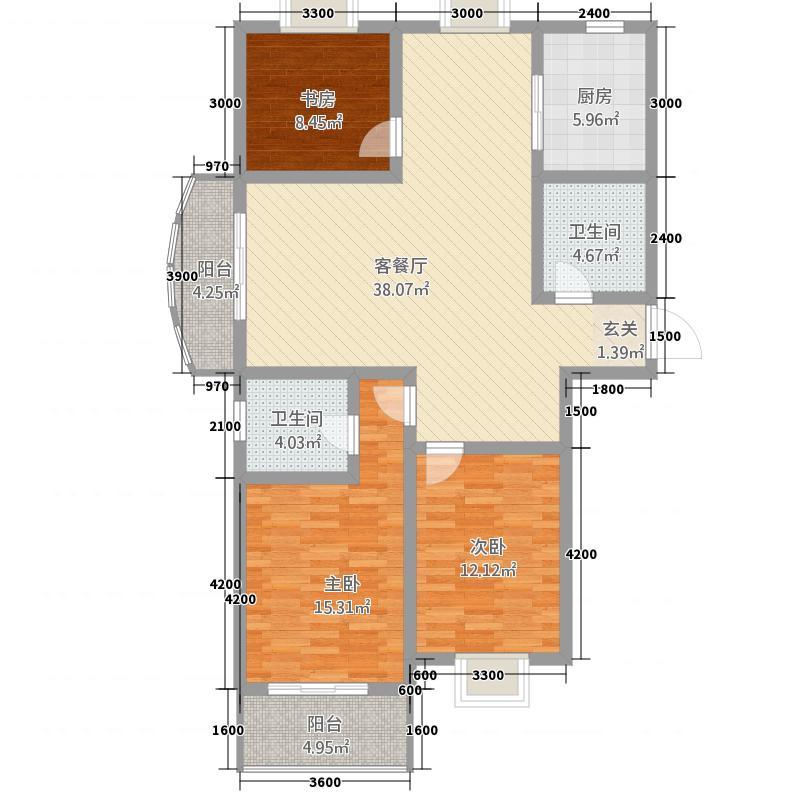 金色豪庭2613.20㎡A2#6#139m户型3室2厅2卫1厨