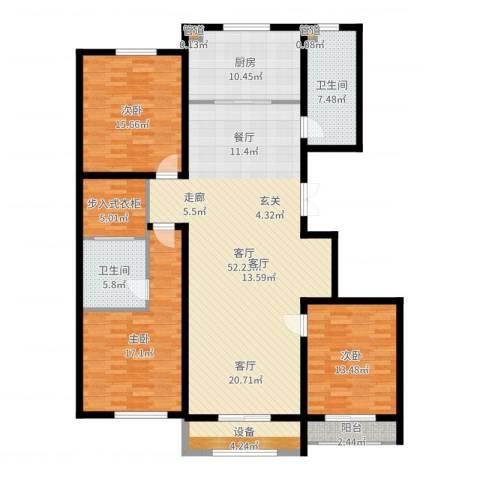 麒麟公馆3室1厅2卫1厨168.00㎡户型图